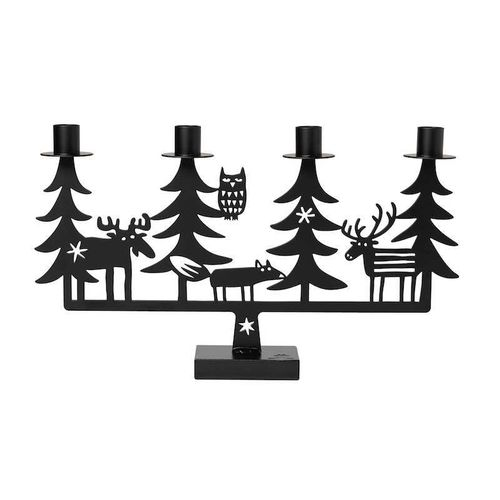 Christmas forest candle holder black